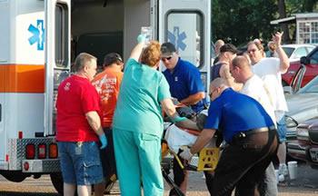 Ambulancia y paciente